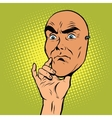 Angry face mask of a man The thinker pose vector image vector image