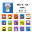 architect set icons in flat style big collection vector image vector image