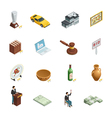 Auction Isometric Icon Set vector image vector image