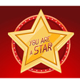 big golden star in circle on red backgrou vector image