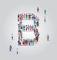 big people crowd forming shape letter b different vector image vector image
