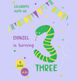 birthday baby card with snake and number three vector image vector image