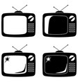 black vintage tv silhouette set isolated on white vector image