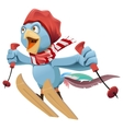 Blue Rooster symbol 2017 flies skiing vector image vector image