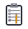 clipboard with checklist and pencil vector image vector image