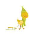 cute little yellow duckling character in green vector image vector image