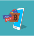 digital bitcoin mobile wallet vector image vector image