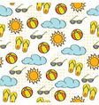 doodle cartoon seamless pattern summer holiday vector image vector image