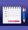 editable contact form with pencil vector image vector image