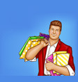 fat man with shopping bags in pop art style vector image vector image