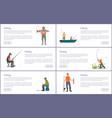fishing men posters titles set vector image vector image