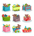 flat set of containers full of children vector image vector image