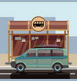 flat style minibus on bus stop vector image vector image