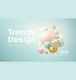 flowing soft spheres abstract background with 3d vector image vector image