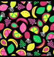 fruit seamless pattern black green yellow vector image