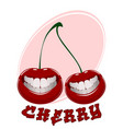 funny cherry on white vector image vector image