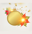 golden fir tree toy with red poinsettia star vector image vector image