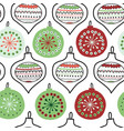 hand drawn doodle christmas tree ornaments vector image vector image