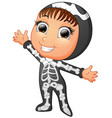 happy kid wearing skeleton costume vector image