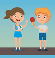 happy kids couple playing sports characters vector image vector image
