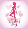 happy womens day card-silhouette girl pink hearts vector image