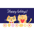 holiday card with funny cats on a blue background vector image