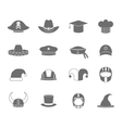 Icons hat set black vector image vector image