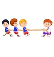 Kids cartoon playing tug of war vector image vector image