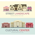 Landscape street town banners set Town vector image