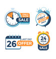 last day offer modern label with alarm clock vector image