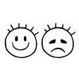 line sad and cheerful smiley emoticons icons vector image vector image
