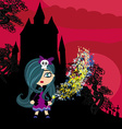 little witch in night vector image vector image