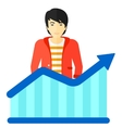 Man with growing chart vector image vector image