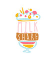 milk shake logo template badge for restaurant vector image