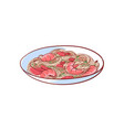 noodles with shrimp isolated icon vector image vector image