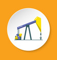 oil rig icon in flat style on round button vector image vector image