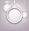Paper round christmas balls vector image