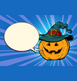 pumpkin halloween comic bubble vector image vector image