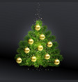 realistic christmas green tree with gold toys vector image vector image