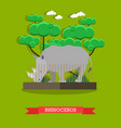 rhinoceros in flat style vector image vector image
