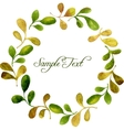 round wreath with watercolor green leaves and vector image vector image