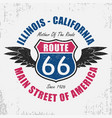 route 66 t-shirt vector image vector image