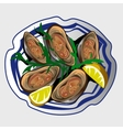 Sea delicacy oysters with lemon and seasoning vector image vector image