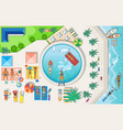 set on theme beach recreation tourism vector image vector image