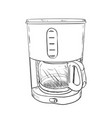 sketch of electric coffee maker vector image vector image