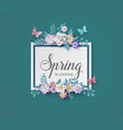 spring season with frame of flower and leaves vector image vector image