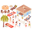 tropical holidays isometric set vector image