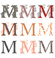 various combination fishnet letter m vector image vector image