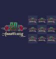 vintage anniversary festive colorful emblems set vector image