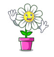 waving daisy flower character cartoon vector image vector image